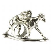 Greyhound Dog Sterling Silver Dangle Charm / Carrier Bead